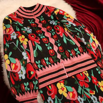 Turtleneck Knitted Christmas Sweater 2018 Vintage Long Sleeve Floral Thick Pullovers Warm Winter Clothes Women
