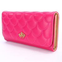 Fuchsia Faux Leather Scallop Quilted Wallet
