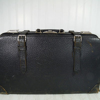 Antique Aged Black Leather Large Suit Case with Metal Frame & HardWare - Vintage Green Plaid Interior Travel Bag with Intact Leather Straps