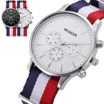 MIGEER Mens Fashion Canvas Alloy Analog Watch Wrist Watches Drop Shipping P23 Jul20