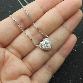 Custom made 1ct Brilliant Moissanite Pendant White gold,Diamond Pendant,14k,Heart Shaped Cut,Gemstone Pendant for necklace,Halo,Fashion