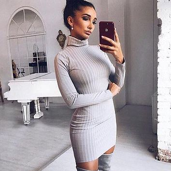 Simple Fashion Concave Stripe Turtleneck Long Sleeve Bodycon Solid Color Mini Dress