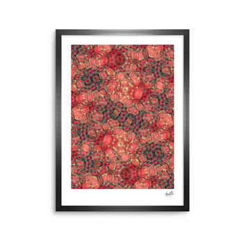 "Justyna Jaszke ""Red Mandala Dragon"" Red Black Abstract Pattern Digital Mixed Media Framed Art Print"