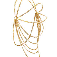 FOREVER 21 Draped Chain Headwrap Gold One