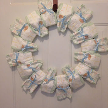 Diaper wreath for baby shower or gender reveal party