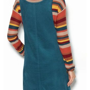 Blue Plain Pockets Shoulder-Strap Cute Teens Corduroy Overall Skirt