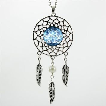 2017 Trendy Style Supernatural Necklace Dreamcatcher Feather Blue Moon Jewelry Supernatural Dream Catcher Necklace DC-00445