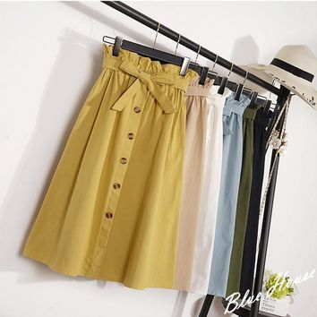 2019 new lady fashion print dressSummer Autumn Skirts Womens 2019 Midi Knee Length Korean Elegant Button High Waist Skirt Female Pleated School Skirt