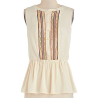 ModCloth Mid-length Sleeveless Peplum Just a Taste Top