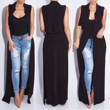 Black Drawstring Open Front Maxi Cape Dress