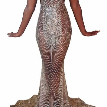 Backless Sexy Gold Sequin Long Evening Dress