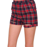 Highland Plaid Shorts - Red/Navy