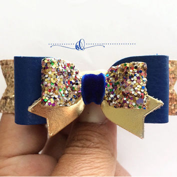 Glitter Hair Bows, Royal Blue hair clips, Girls Back to School Bows,Blue Leather Bows,Gold and Blue bows, headband,Accessories,Clippies