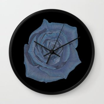Blue Rose Wall Clock by drawingsbylam