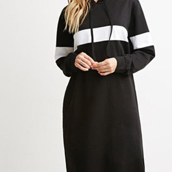 Black Striped Hooded Long Sleeve Midi Dress