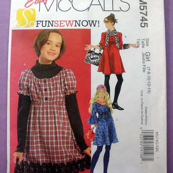 Girls Pull-on Dress Girls Size 7, 8, 10, 12, 14 McCall's 5745 Sewing Pattern Uncut, Easy to Sew