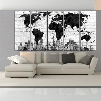 Extra large world map canvas print wall art, extra large world map wall art, black and white world map canvas print wall art  No:6S23