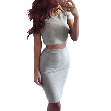 Summer Style Lady Bodycon Midi Dress Set Party Vestidos Two Piece Outfits Costume For Sexy Women