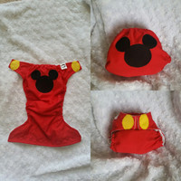 Mickey Mouse Cloth Diaper Cover or Pocket Diaper - One-Size or Newborn, S, M, L