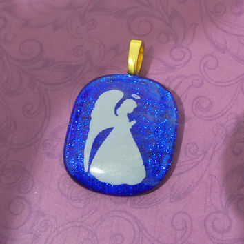 Angel Pendant, Royal Blue Pendant, Fused Glass Jewelry, Omega Slide - Angelic - -5