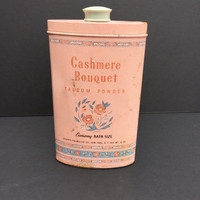 Vintage Powder Tin Cashmere Bouquet Talcum Powder Tin 1940's Economy Bath Size