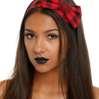 LOVEsick Black And Red Plaid Bow Headband