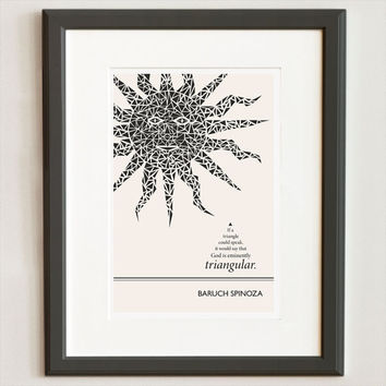 Illustration, Spinoza Quote, Philosophy Quote, Fine Art Print, Art Posters, Triangle Print, Sun Drawing, Sun Illustration, Graphic Print