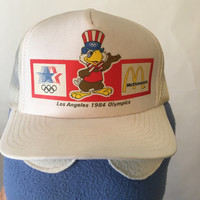 Vintage 1984 Los Angeles Olympics White Mesh Trucker Hat
