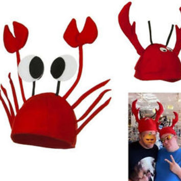 Funny Holiday Adult Child Red Novelty Lobster Crab Sea Animal Hat Costume Cap