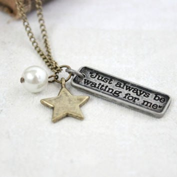 "Antique Gold Star & Peter Pan Necklace - Faux White Pearl and Brushed Silver Word Fairy Tale Charm Pendant - ""Just always be waiting for me"""