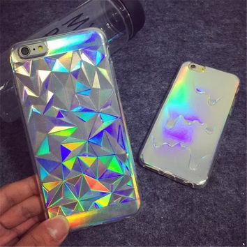 Glitter Case 3D Melting Ice Cream Geometric Grid Bling Fundas Capa Phone Cases Cover For iPhone 7 7Plus 5 5S 6 6G 6S 6Plus Coque-04410