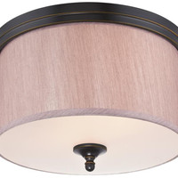 Packard Two-Light Indoor Flush Ceiling Fixture, Amber Bronze Finish with Beige Fabric Shade and Frosted Glass Panel