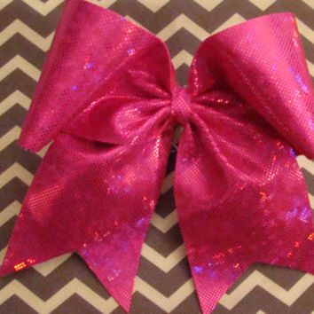 Hot Pink Shattered Glass Cheer Bow by isparklethat on Etsy