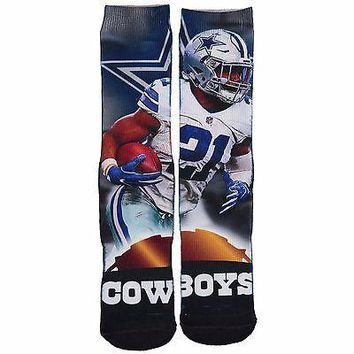 EZEKIEL ELLIOTT #21 DALLAS COWBOYS CITY  PLAYER SOCKS SIZE LG FOR BARE FEET