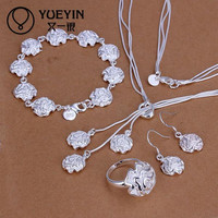2016 Fashion Jewelry Sets 925 Pure Silver Austrian Crystal Flower/Water Drop/Geometry Style Wedding Engagement Jewelry Sets
