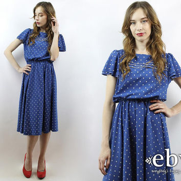 Vintage 80s Blue + White Polka Dot Midi Dress S M Blue Dress Flutter Dress Summer Dress Polka Dot Dress Day Dress Work Dress Secretary Dress