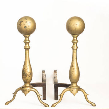 Vintage Sheffield Cannonball Andirons, Brass Ball Fireplace Decor, Federal Manor House Style Decor