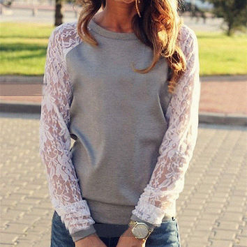 Women Lace Loose Long Sleeve Round Necked T-Shirt _ 10618