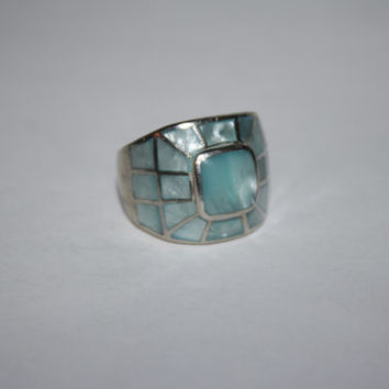 Beautiful Size 7.25 Vintage Sterling Silver and Blue Abalone Ring- Chunky, Free US shipping