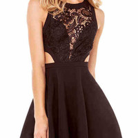 Black Lace Cutout Sleeveless Dress