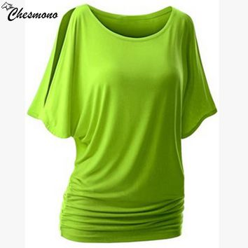 home top for women t shirt plug size loose casual simple Cut Out Off Shoulder o-nect Short Sleeve Dolman Drape Loose Tunic Top