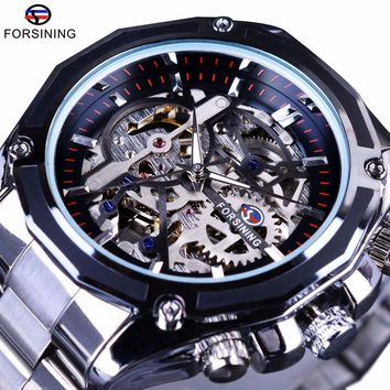 Forsining Mechanical Steampunk Design Fashion Business Dress Men Watch Top Brand Luxury Stainless Steel Skeleton Automatic Watch