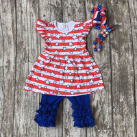 July 4th new Arrival baby Girls summer stuff cotton star print capris red strpies capris ruffles with matching accessories