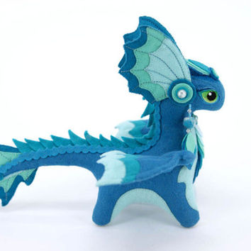 Plush dragon Element Water Made To Order fantasy plush animal textile toys Soft sculpture children, fabric toy, handmade, favorite toy
