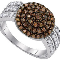 Cognac Diamond Fashion Ring in 10k White Gold 0.75 ctw