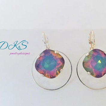 Eclipse, Swarovski Lever Back Earrings, 12MM Square, Silver, Opal Electra, Dangles, Drops, DKSJewelrydesigns, FREE SHIPPING