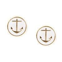 Oversized Anchor Button Stud Earrings