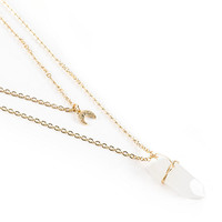 Stone + Locket Crescent & Crystal Layered Necklace