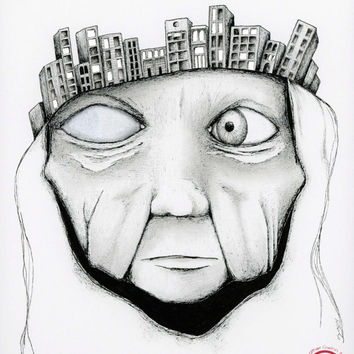 """Pen and ink portrait, ink drawing, surreal artwork, black and white 11x14 Limited Edition Art Print """"The Seer"""""""