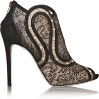 René Caovilla Embellished suede, lace and mesh ankle boots – 60% at THE OUTNET.COM